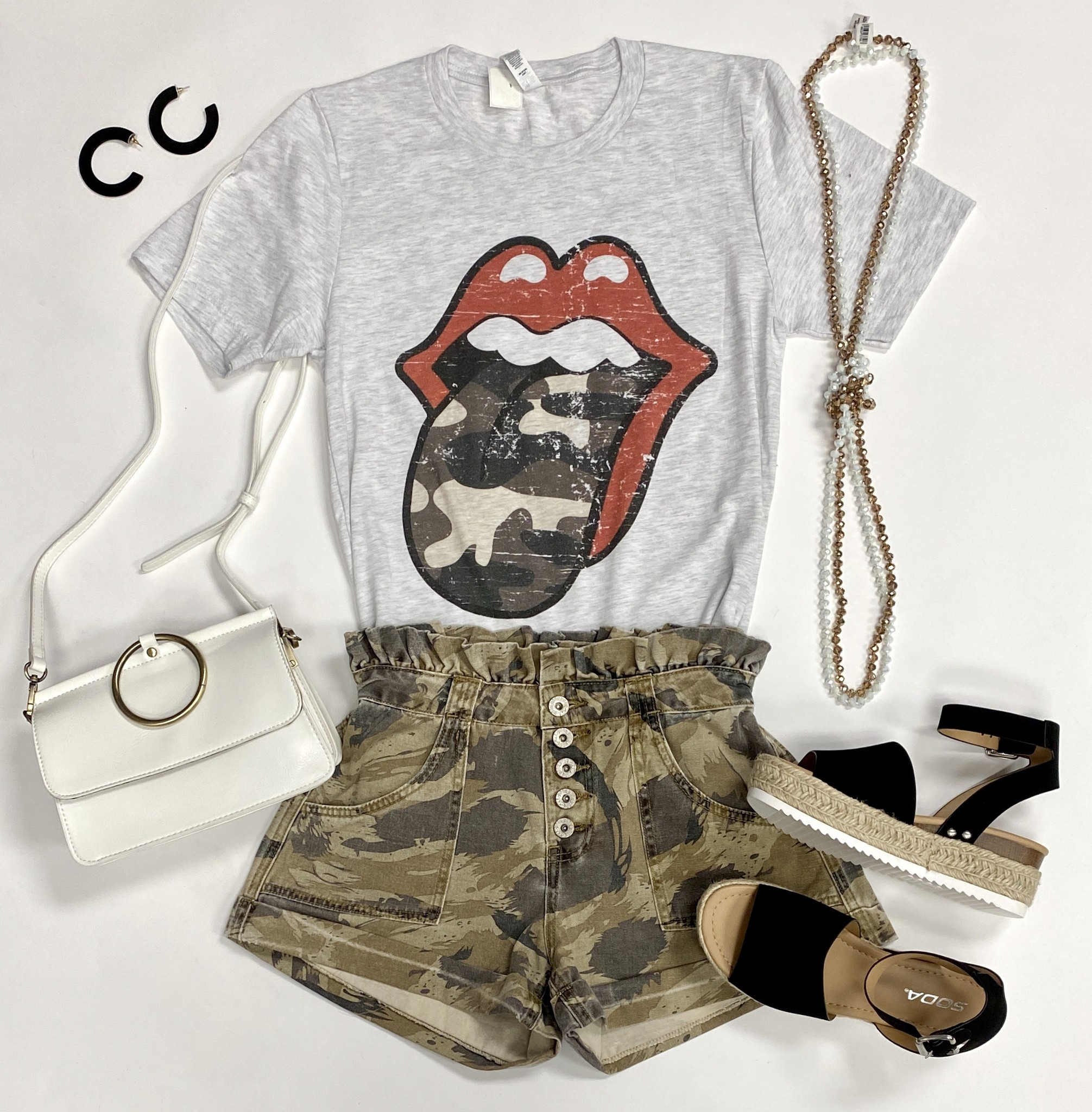 """Camo Rolling Stones"" T-Shirt"