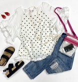 White Ruffle/Polka Dot Top