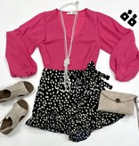 Black Dalmatian Print Ruffle Shorts