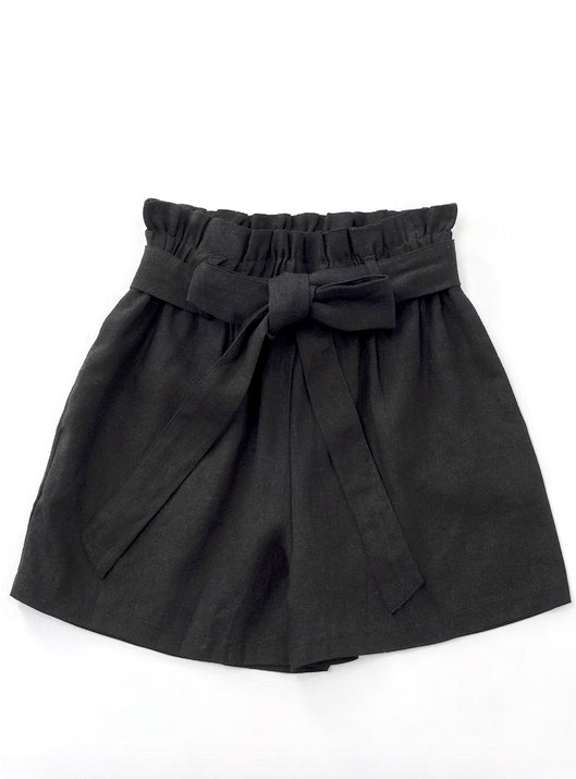 Black Ribbon Paperbag Shorts