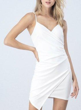 White Wrap Body Con Dress