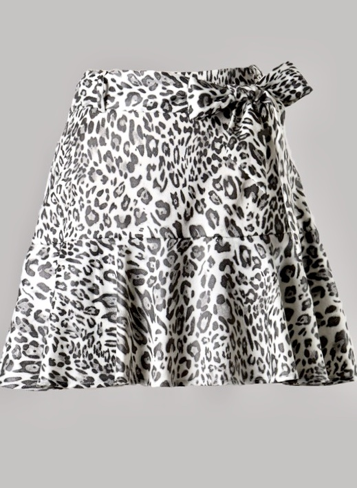 White Cheetah Print Skort