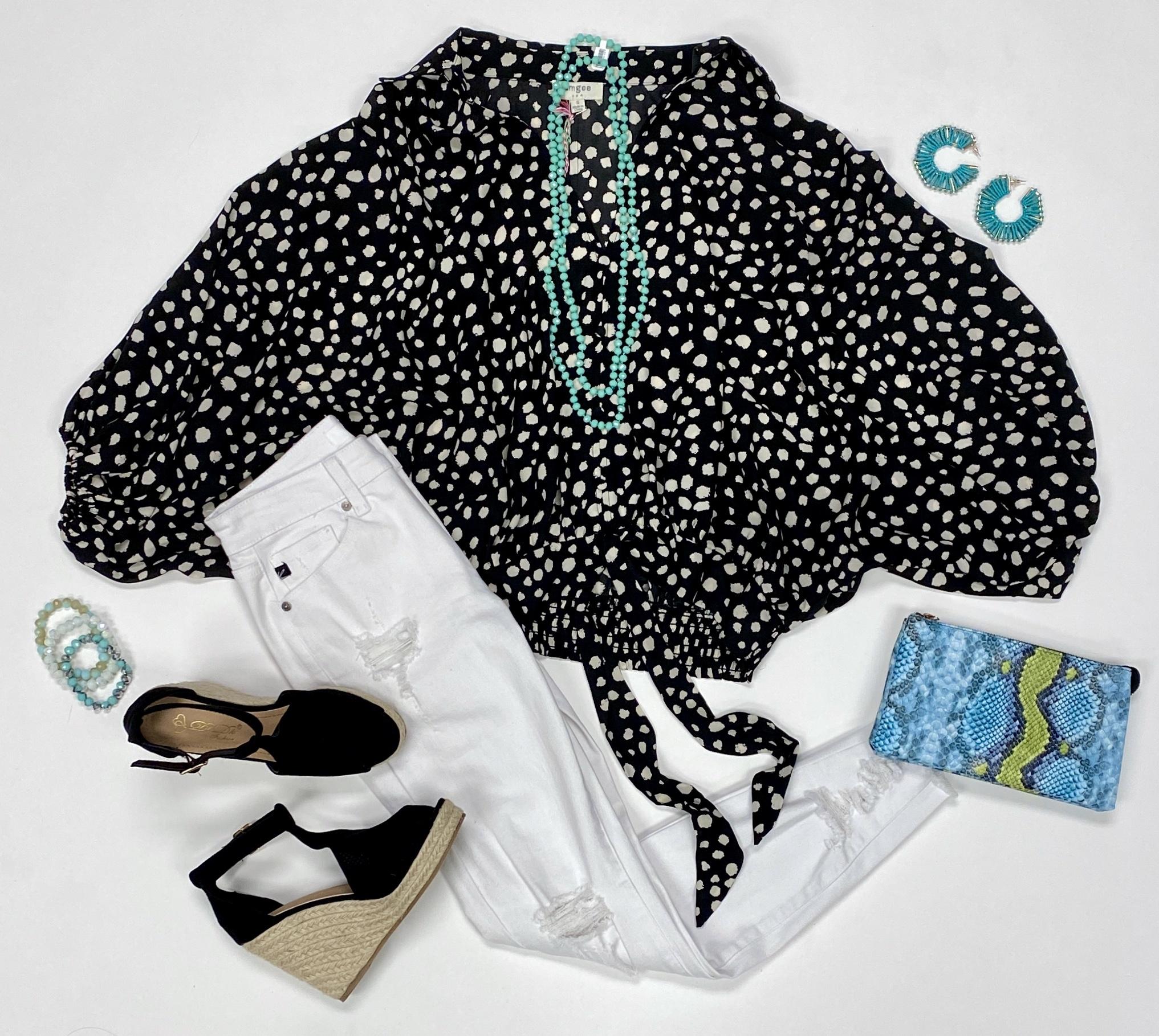 Black Dalmatian Print Waist Tie Top