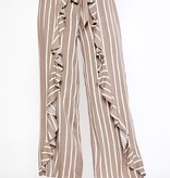 Taupe/Ivory Stripe Front Ruffle Pants
