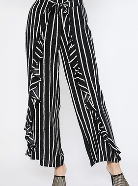 Black/Ivory Stripe Front Ruffle Pants
