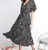Black Dalmatian Print Ruffled Details Dress
