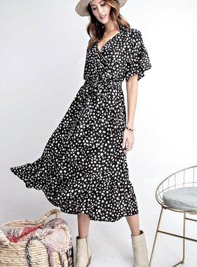 Black Dalmatian Print Ruffled Details Dress