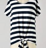Black Stripe Front Tie Top