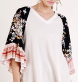 Cream Mix Bell Sleeve Scoop Hem Top