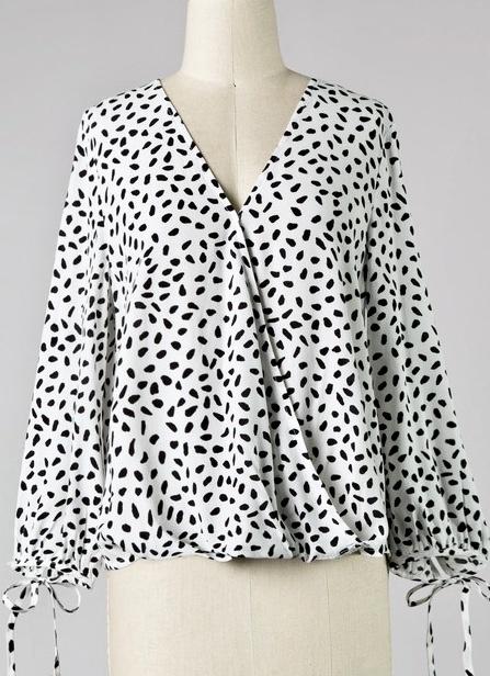 White Dalmatian Crossover Top