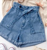 Denim Blue High Waisted Paper Bag Shorts