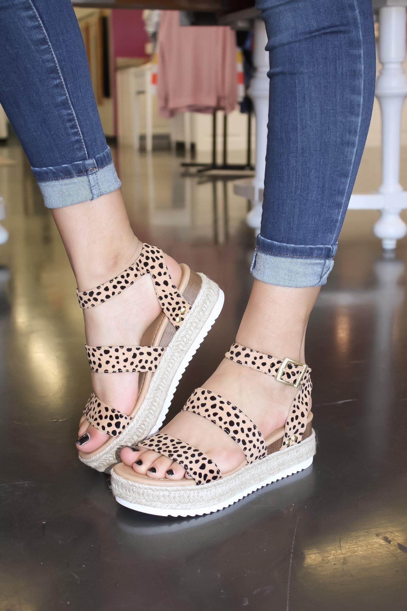 Kari Two-Strap Platform Sandal Cheetah