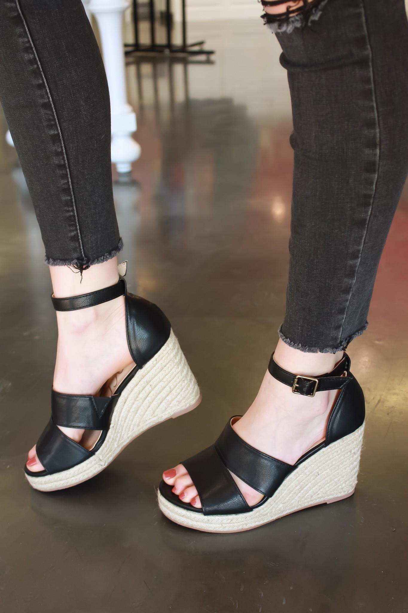 Tiffany Black Wedge Sandal