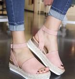 Rose Platform Flats with Ankle Strap