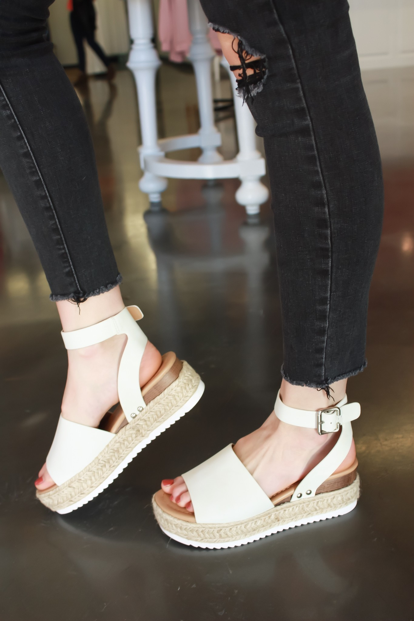 White Flat Platform With Ankle Straps
