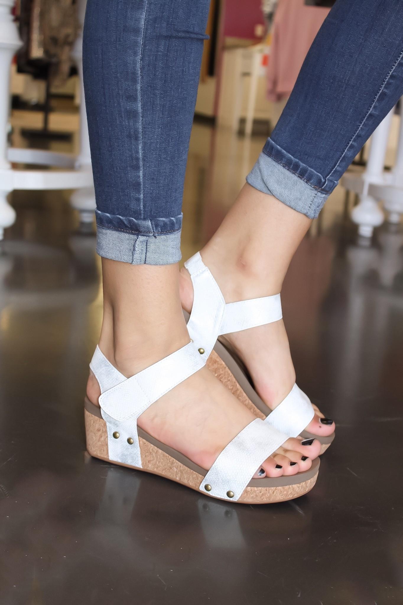 Sofia Velcro Two- Strap White Wedge
