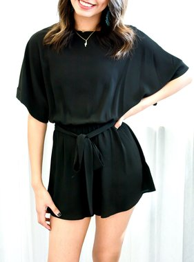 Black Half Sleeve Romper