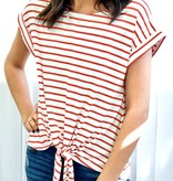 Red Stripe Tie Front Top