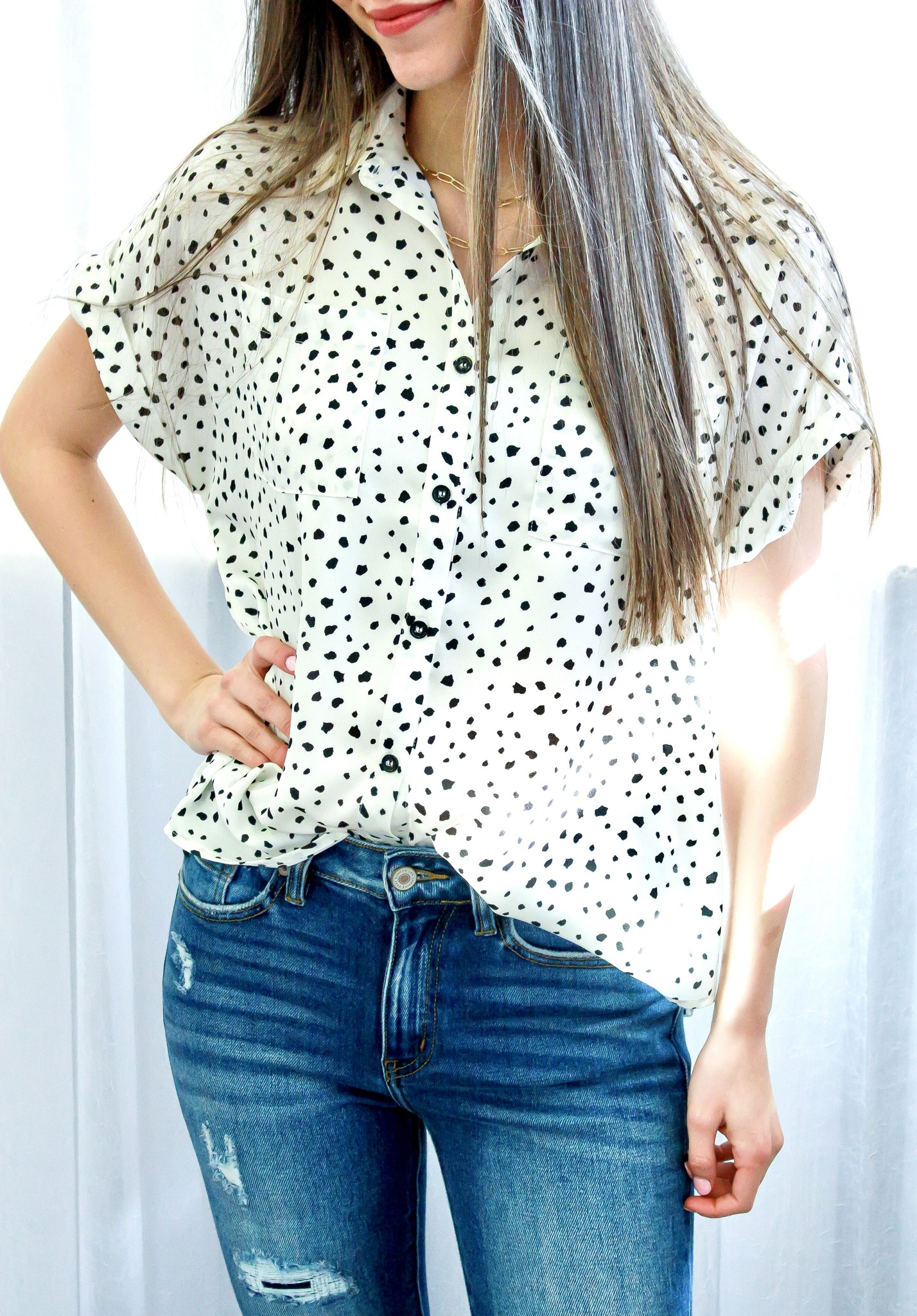 Ivory Dalmatian Print SS Button Down Top
