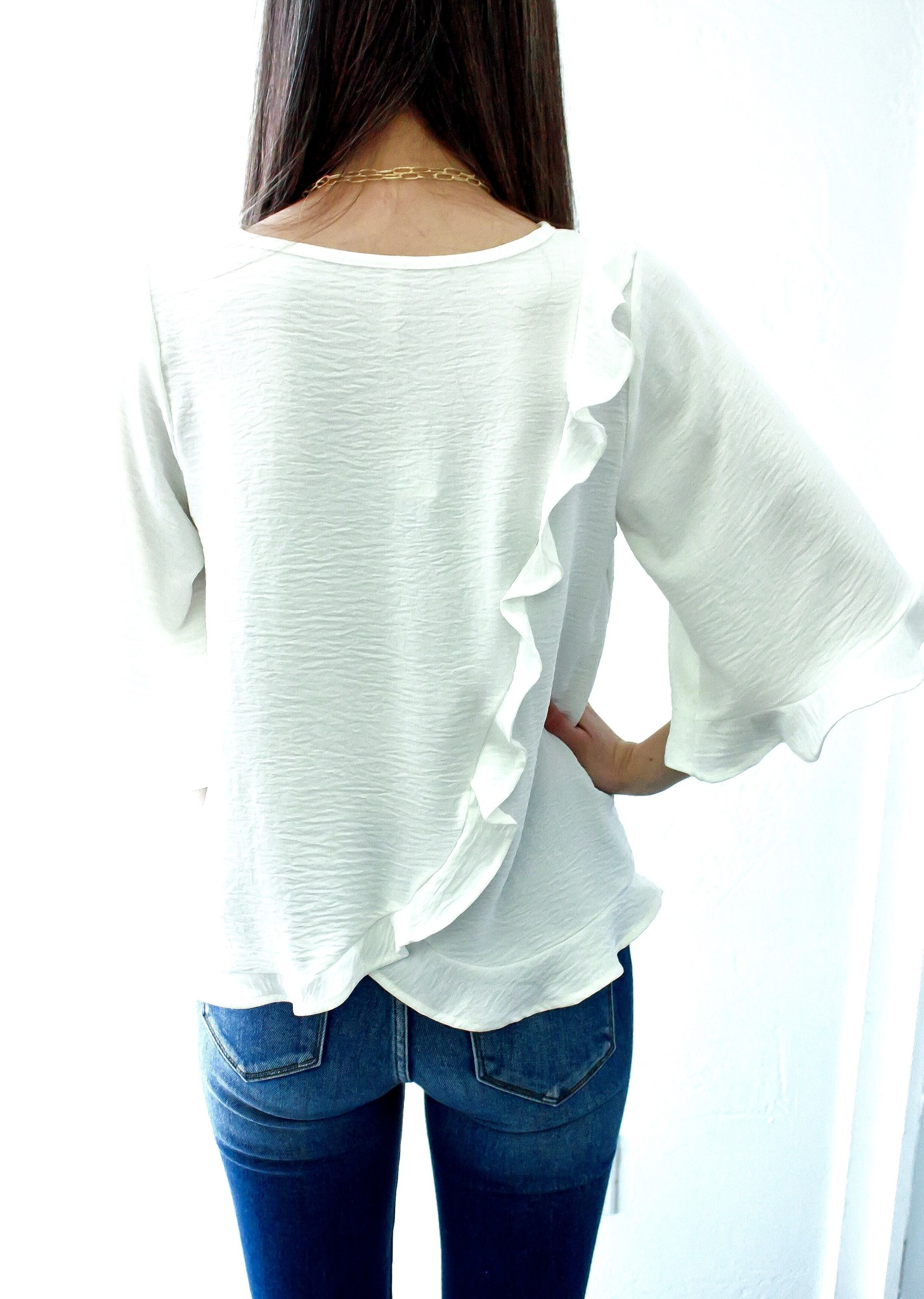 Off White Round Neck Ruffle Detail Bell Top