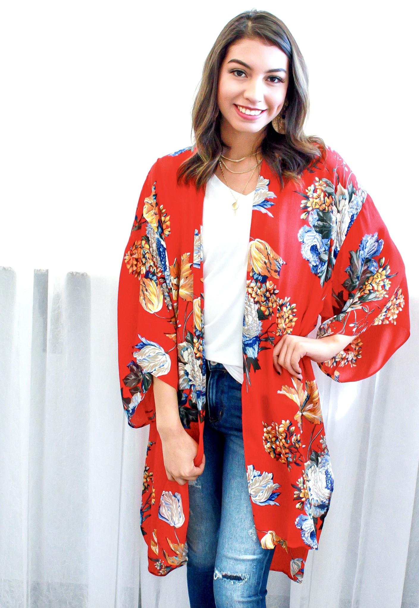 Red Mix Floral Kimono