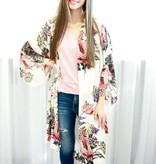 Off White Mix Floral Kimono
