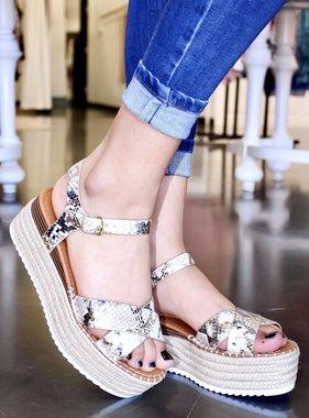 Zaida Cross-Strap Platform Sandal Snake