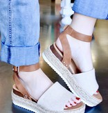Tan Mix Platform Flats With Ankle Strap