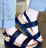 Maci Black Two Strap Wedge Sandal