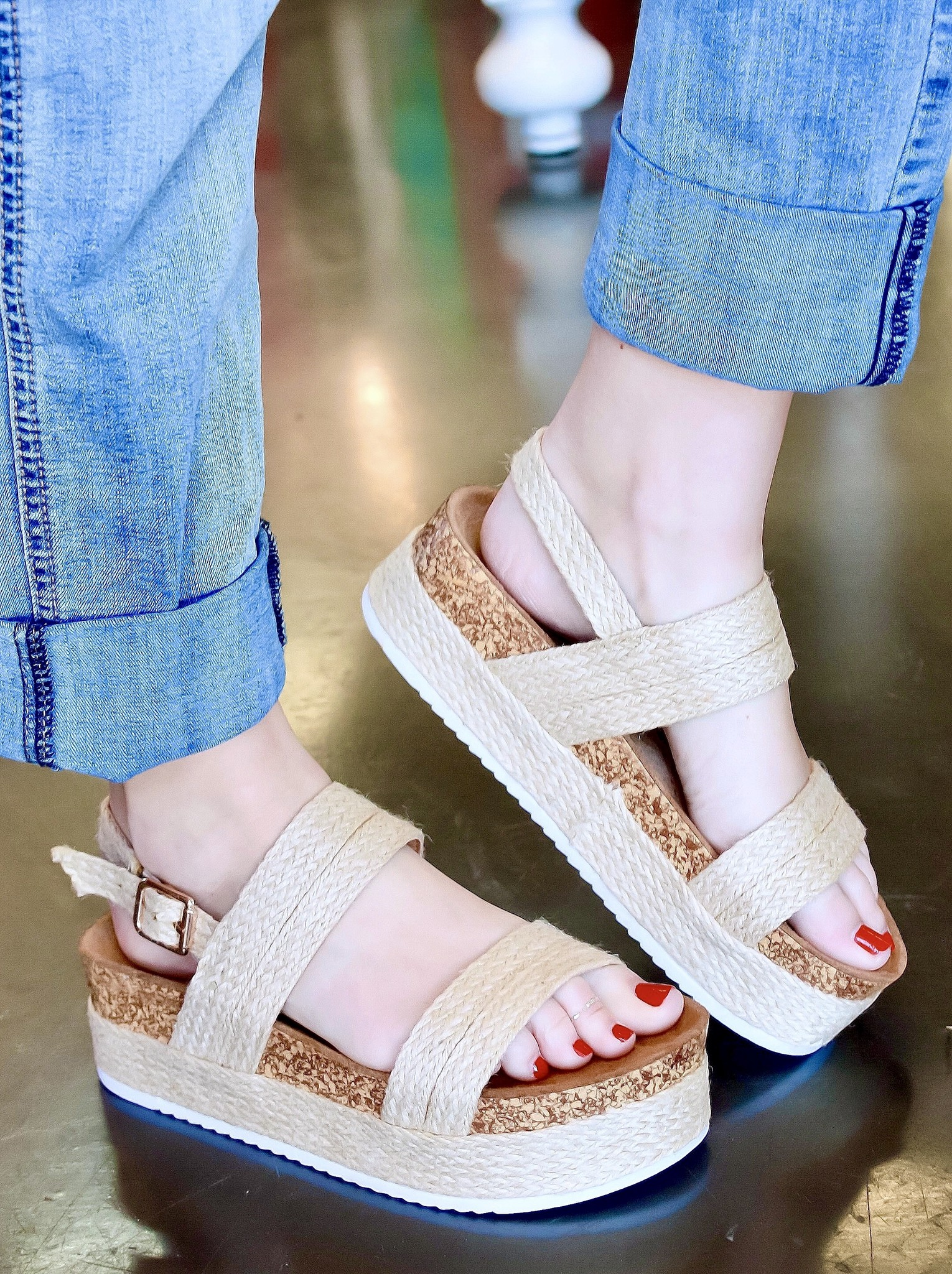 Maci Beige Two Strap Wedge Sandal