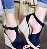 Bella Black Wedge Sandal