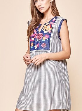 Denim Blue Striped/Embroidered Dress