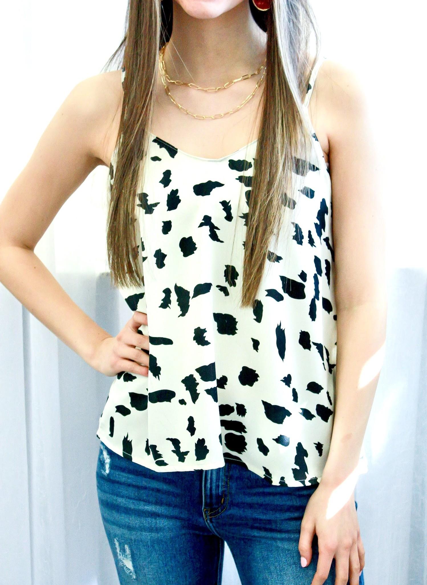 Cream Dalmatian Print Cami Top