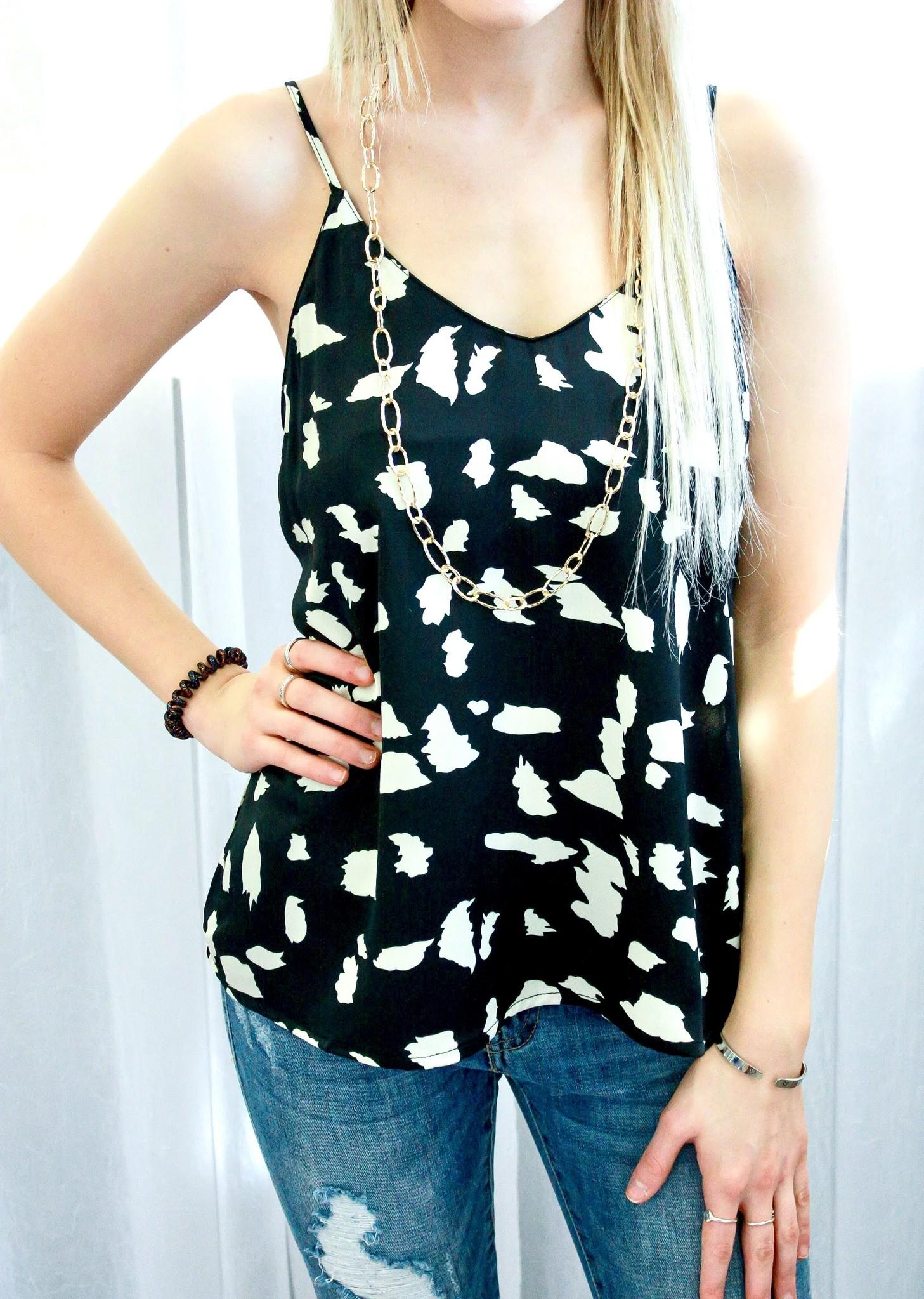 Black Dalmatian Print Cami Top