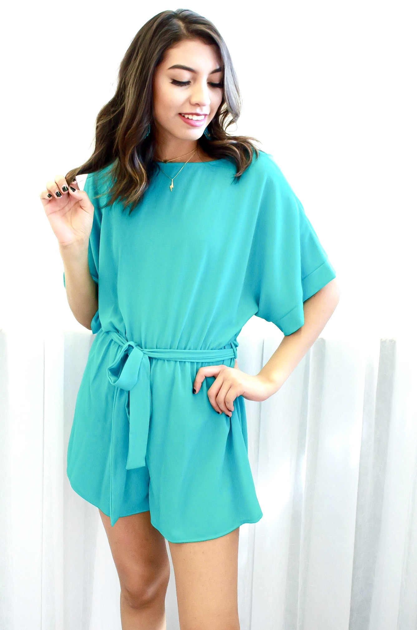 Turquoise Half Sleeve Romper