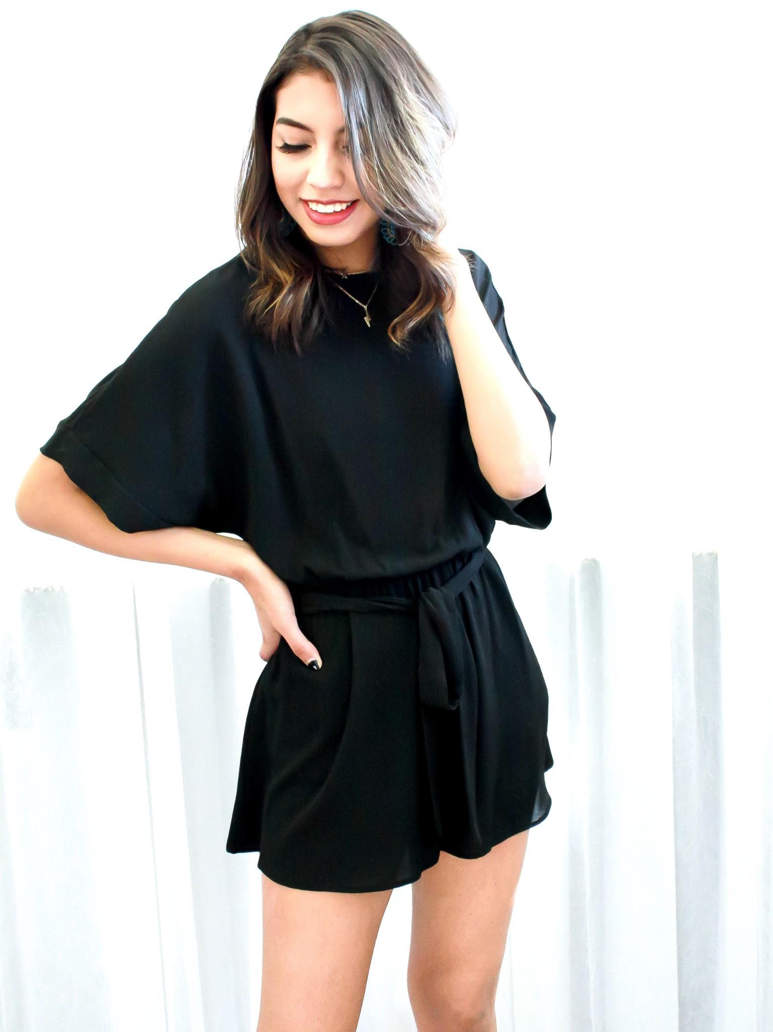 Black Half Sleeve Romper