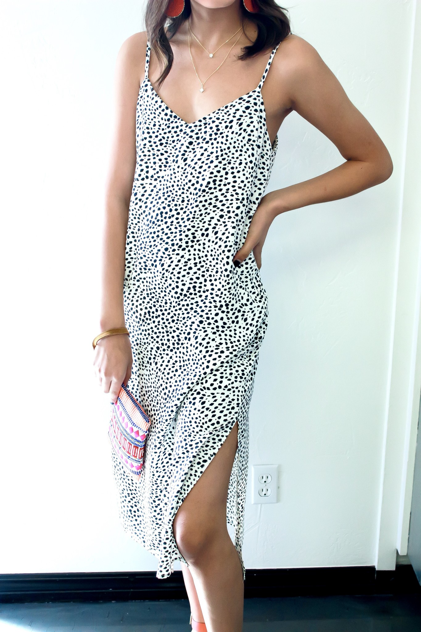 White Dalmatian Side Slit Maxi Dress