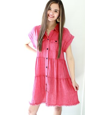 Hot Pink Button Up T-Shirt Dress