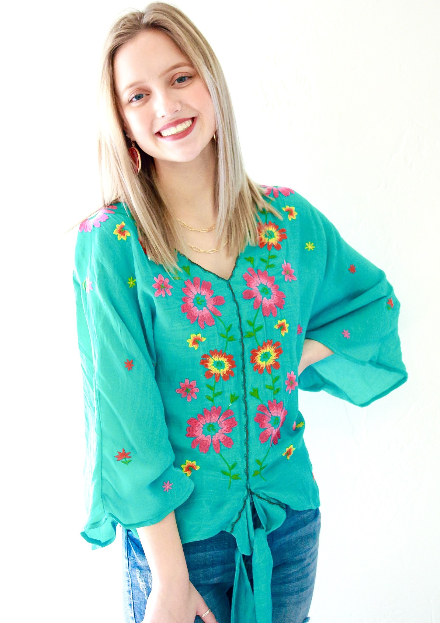 Jade Floral Embroidered Tie Top