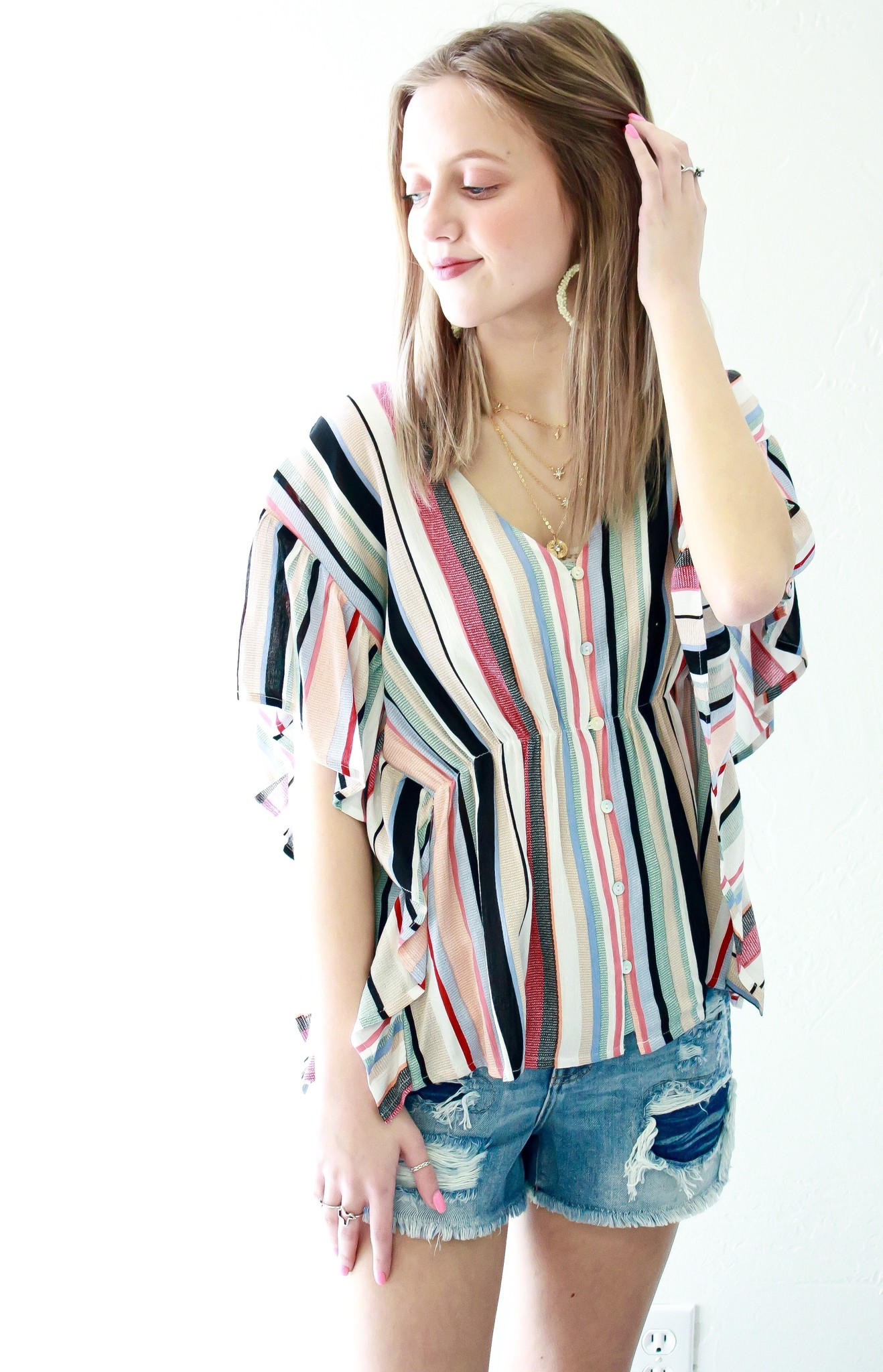 Coral Combo Striped Wing Sleeves Top