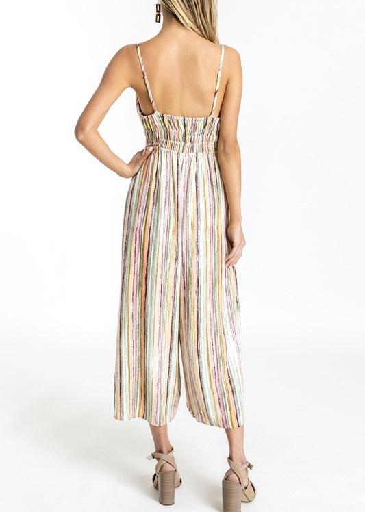 Multi Stripe Cami Tie Front Jumpsuit
