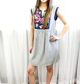 Denim Blue Striped/Embroidered Dress