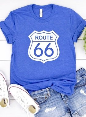 """Heathered Blue """"Route 66"""" T-shirt"""