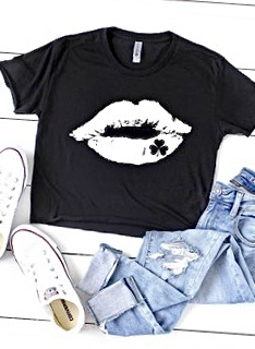 "Black ""Distressed White Lips"" T-shirt"
