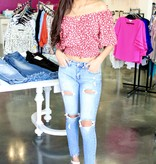 Red Cream Floral Button Top