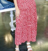 Red Cream Floral Maxi Skirt