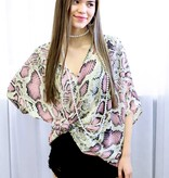Light Pink/Taupe Snake Oversized Top