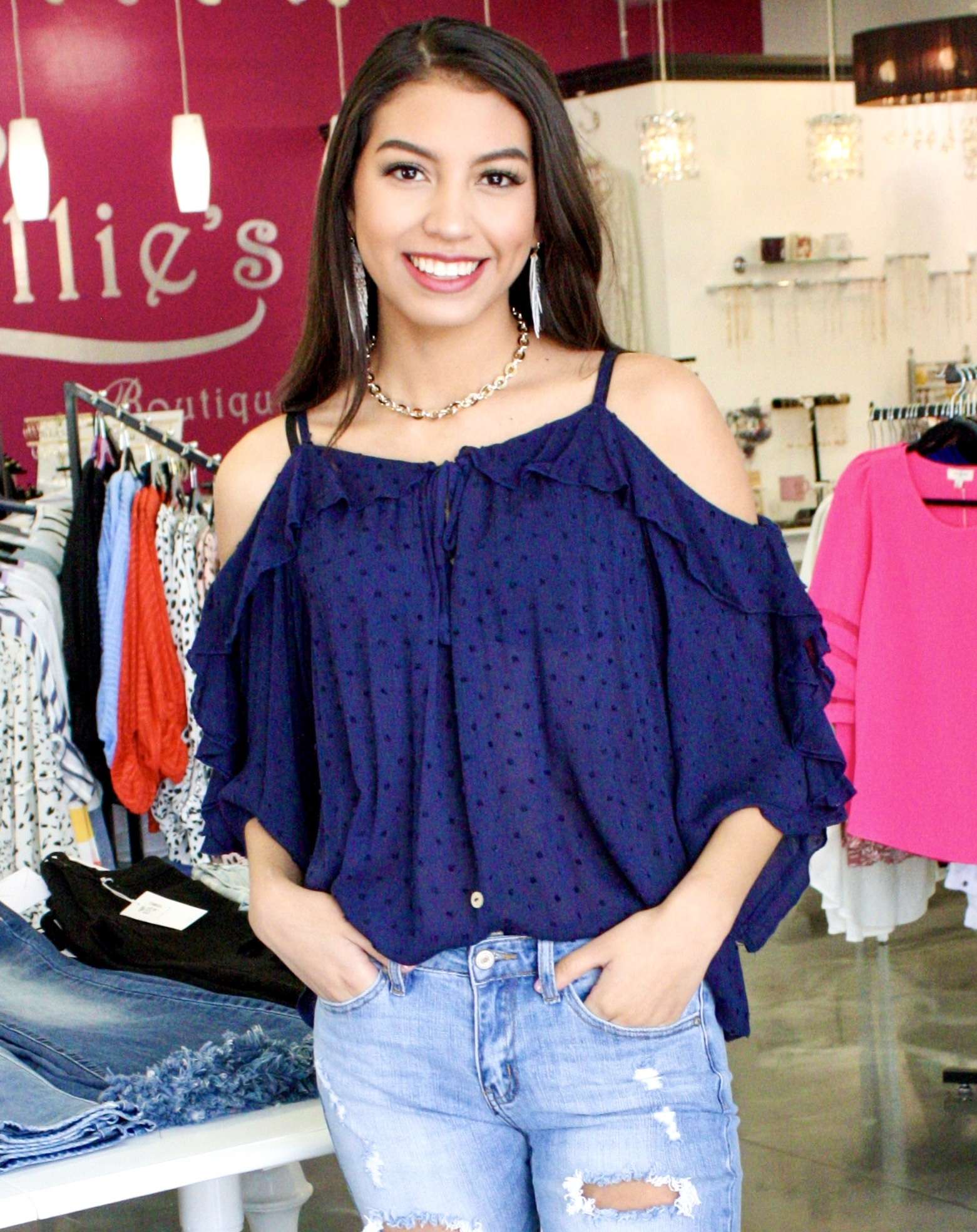 Navy Polka Dot Cold Shoulder Top