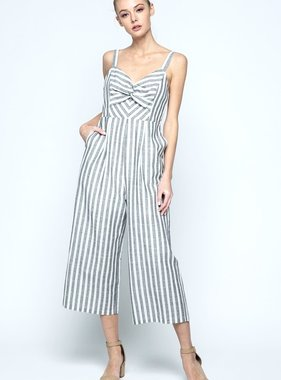Black Striped Twisted Bow Jumpsuit