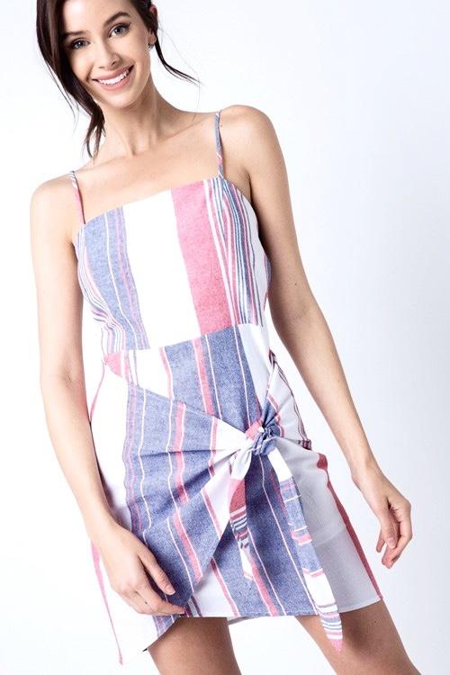 Denim Blue/White Striped Wrap Dress